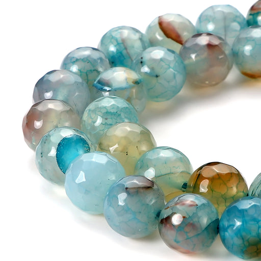 BEADNOVA 12mm Faceted Natural Blue Fire Agate Gemstone Gem Loose Beads Approx 16 inch 31~33pcs/ Strand for Jewelry Making
