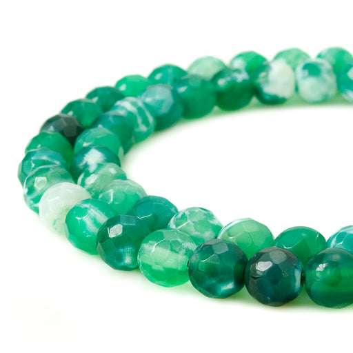 BEADNOVA 4mm Faceted Natural Green Fire Agate Gemstone Gem Loose Beads Approx 16 inch 95~100pcs/ Strand for Jewelry Making