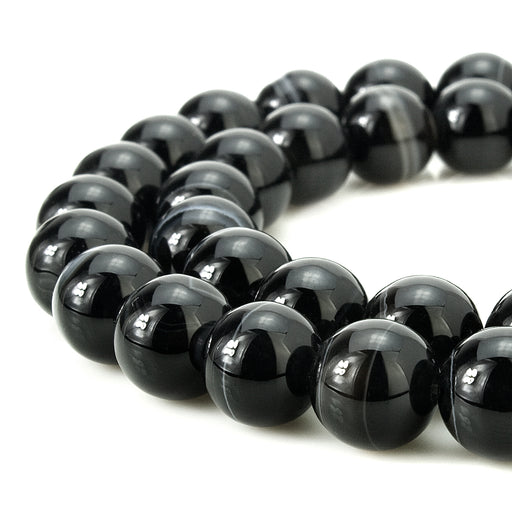 BEADNOVA 8mm Natural Black Banded Agate Gemstone Smooth Round Loose Beads Approx 16 Inch 48~50 pcs / Strand for for Jewelry Making