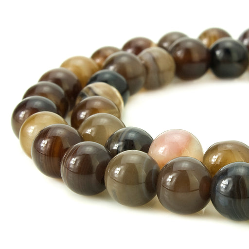 BEADNOVA 6mm Natural Coffee Banded Agate Gemstone Smooth Round Loose Beads Approx 16 Inch 63~65 pcs / Strand for for Jewelry Making