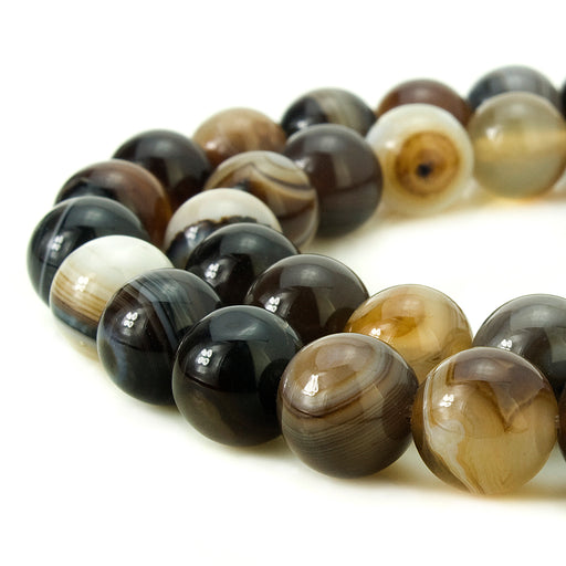 BEADNOVA 8mm Natural Coffee Banded Agate Gemstone Smooth Round Loose Beads Approx 16 Inch 48~50 pcs / Strand for for Jewelry Making