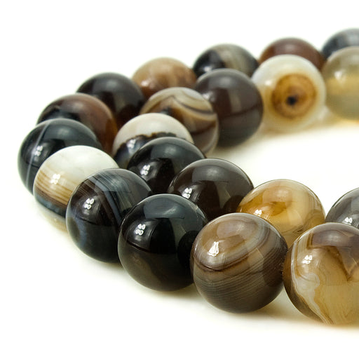 BEADNOVA 10mm Natural Coffee Banded Agate Gemstone Smooth Round Loose Beads Approx 16 Inch 38~40 pcs / Strand for for Jewelry Making
