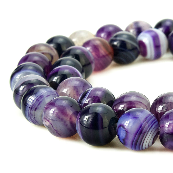 BEADNOVA 8mm Natural Purple Banded Agate Gemstone Smooth Round Loose Beads Approx 16 Inch 48~50 pcs / Strand for for Jewelry Making