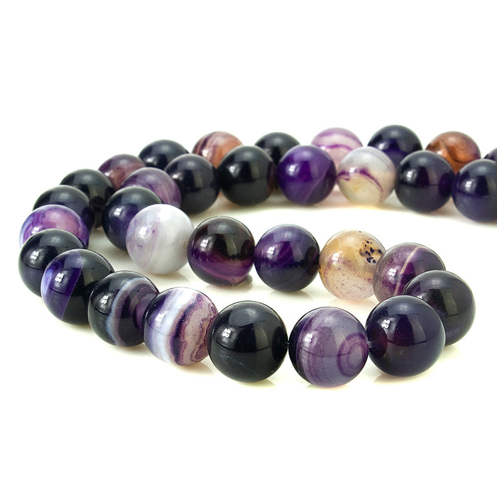 BEADNOVA 10mm Natural Purple Banded Agate Gemstone Smooth Round Loose Beads Approx 16 Inch 38~40 pcs / Strand for for Jewelry Making