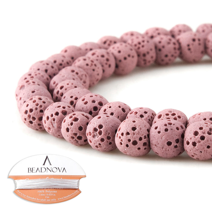 BEADNOVA 6mm Color Lava Gemstone Beads Energy Stone Healing Power Loose Beads for Jewelry Making 63~65pcs (6mm x 1 Strand, Light Purple)