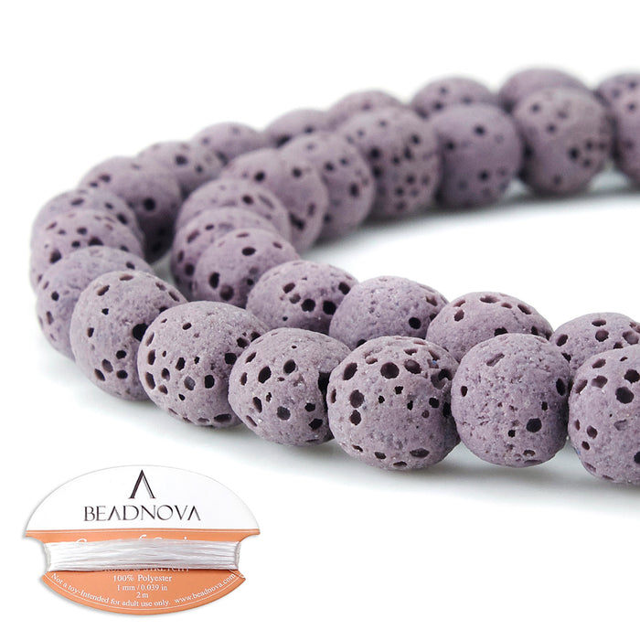 BEADNOVA 6mm Color Lava Gemstone Beads Energy Stone Healing Power Loose Beads for Jewelry Making 63~65pcs (6mm x 1 Strand, Pale Pinkish Purple Color)