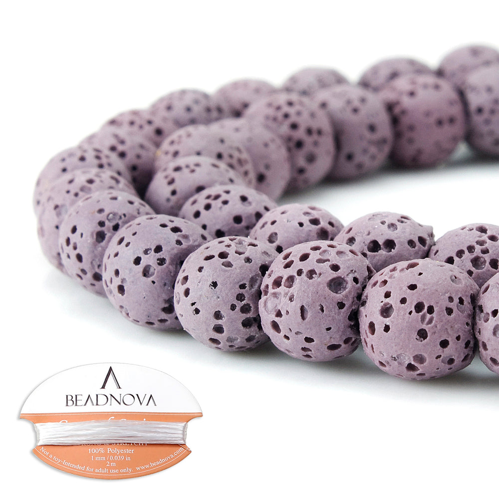 BEADNOVA 8mm Color Lava Gemstone Beads Energy Stone Healing Power Loose Beads for Jewelry Making 48~50pcs (8mm x 1 Strand, Pale Pinkish Purple Color)