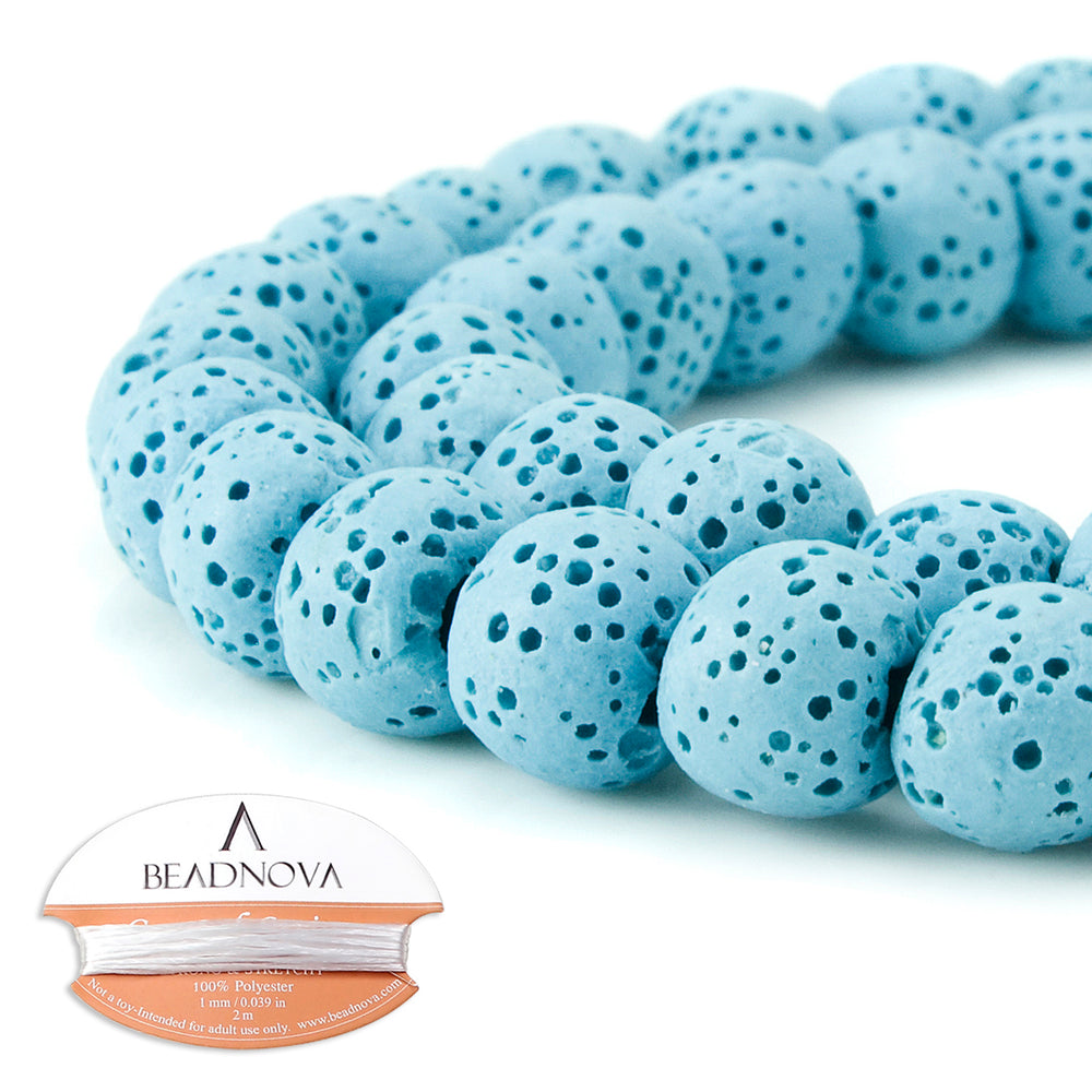 BEADNOVA 8mm Color Lava Gemstone Beads Energy Stone Healing Power Loose Beads for Jewelry Making 48~50pcs (8mm x 1 Strand, Light Blue)