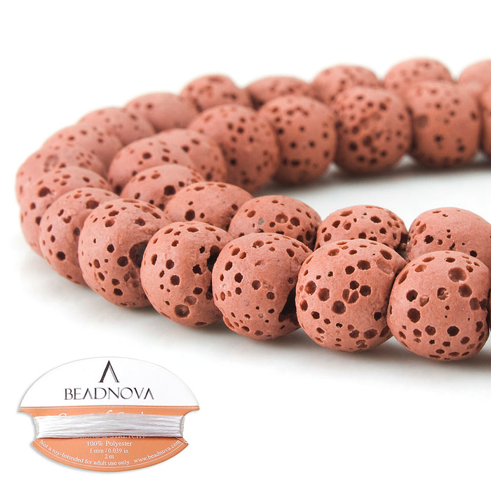 BEADNOVA 8mm Color Lava Gemstone Beads Energy Stone Healing Power Loose Beads for Jewelry Making 48~50pcs (8mm x 1 Strand, Dark Pink)