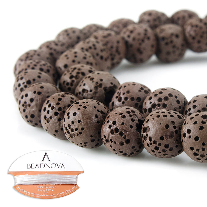BEADNOVA 8mm Color Lava Gemstone Beads Energy Stone Healing Power Loose Beads for Jewelry Making 48~50pcs (8mm x 1 Strand, Coffee)