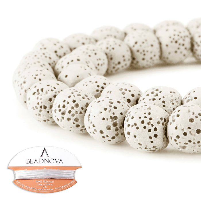 BEADNOVA 10mm Color Lava Gemstone Beads Energy Stone Healing Power Loose Beads for Jewelry Making 38~40pcs (10mm x 1 Strand, White)