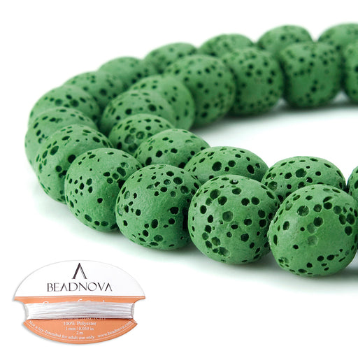 BEADNOVA 10mm Color Lava Gemstone Beads Energy Stone Healing Power Loose Beads for Jewelry Making 38~40pcs (10mm x 1 Strand, Dark Green)