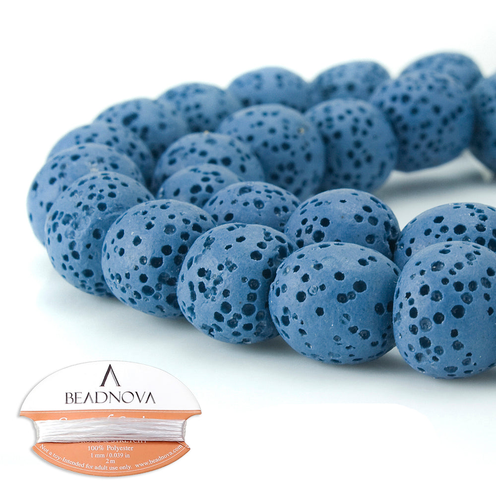 BEADNOVA 10mm Color Lava Gemstone Beads Energy Stone Healing Power Loose Beads for Jewelry Making 38~40pcs (10mm x 1 Strand, Blue)