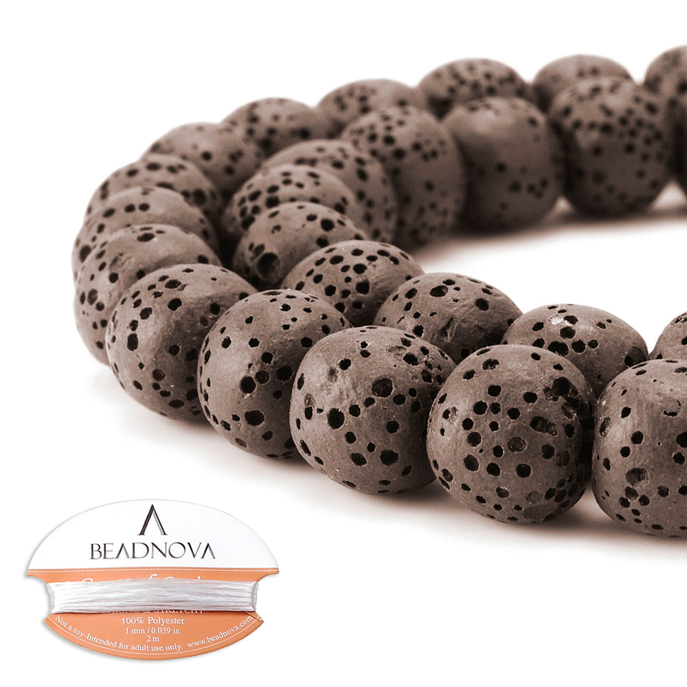 BEADNOVA 10mm Color Lava Gemstone Beads Energy Stone Healing Power Loose Beads for Jewelry Making 38~40pcs (10mm x 1 Strand, Coffee)