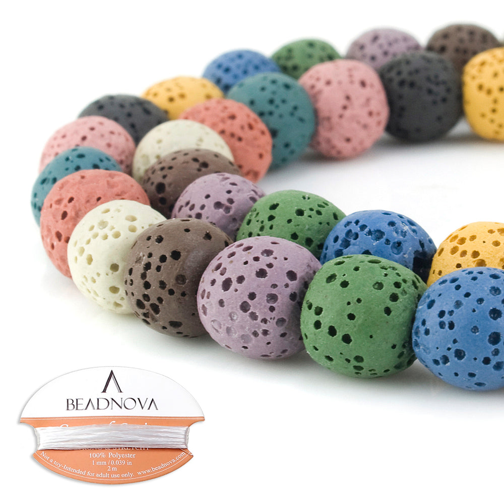 BEADNOVA 10mm Color Lava Gemstone Beads Energy Stone Healing Power Loose Beads for Jewelry Making 38~40pcs (10mm x 1 Strand, Mixed Color)