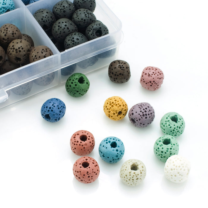 BEADNOVA 10mm Colorful Lava Rock Stone for Jewelry Making (180pcs, Assorted)