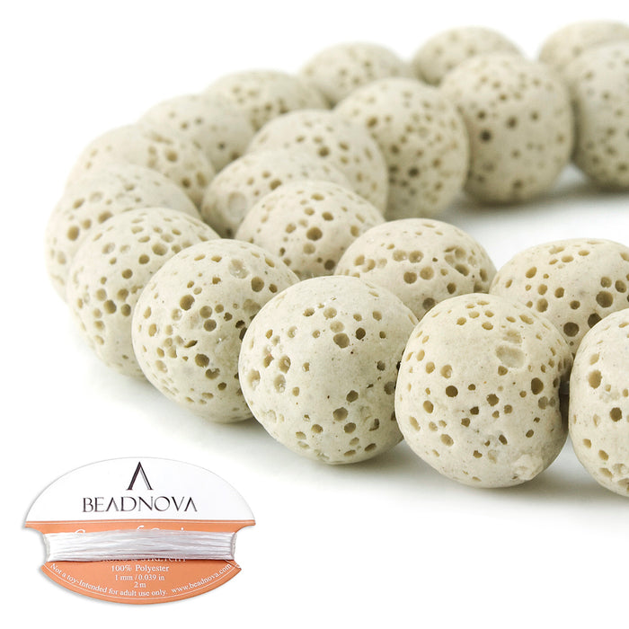 BEADNOVA 12mm Color Lava Gemstone Beads Energy Stone Healing Power Loose Beads for Jewelry Making 31~33pcs (12mm x 1 Strand, Apricot)