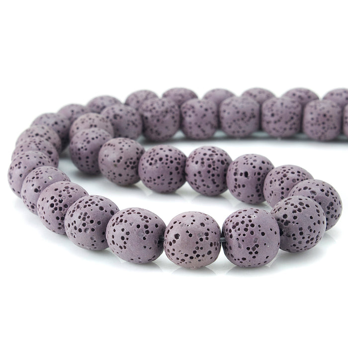 BEADNOVA 12mm Color Lava Gemstone Beads Energy Stone Healing Power Loose Beads for Jewelry Making 31~33pcs (12mm x 1 Strand, Pale Pinkish Purple Color)