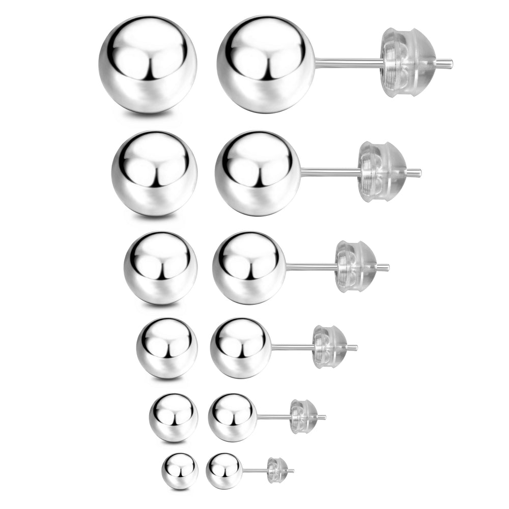 JADENOVA S925 Sterling Silver Earrings Round Ball Stud Earrings for Women Men, 3mm-8mm (6 Pairs/Set Assorted Sizes)