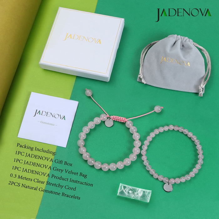JADENOVA 6/8mm Natural Rose Quartz Gemstone Bracelet for Couples Gifts