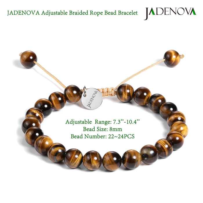 JADENOVA 6/8mm Natural Yellow Tiger Eye Gemstone Bracelets Round Beads Stretch Bracelet Adjustable Beaded Bracelet Couple Distance Bracelets Unisex (2pcs Bracelet Set)