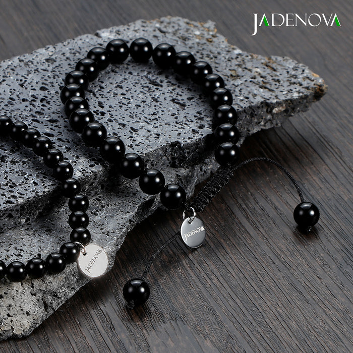 JADENOVA 6/8mm Natural Black Onyx Gemstone Bracelets Round Beads Stretch Bracelet Adjustable Beaded Bracelet Couple Distance Bracelets Unisex (2pcs Bracelet Set)