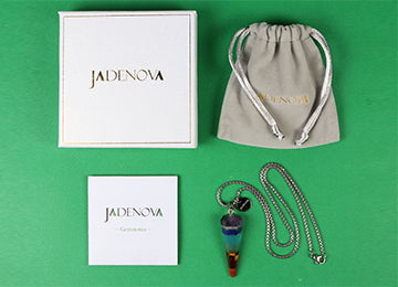 "JADENOVA 7 Chakra Pendant Necklace Cone-shaped Energy Healing Gemstone Crystal Dowsing Divination Pendulum 18"" Stainless Steel Chain"