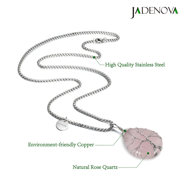 JADENOVA Family Tree Necklace Tree of Life Natural Rose Quartz Gemstone Pendant Handmade Teardrop Pendant Necklace 24'' Stainless Steel Chain