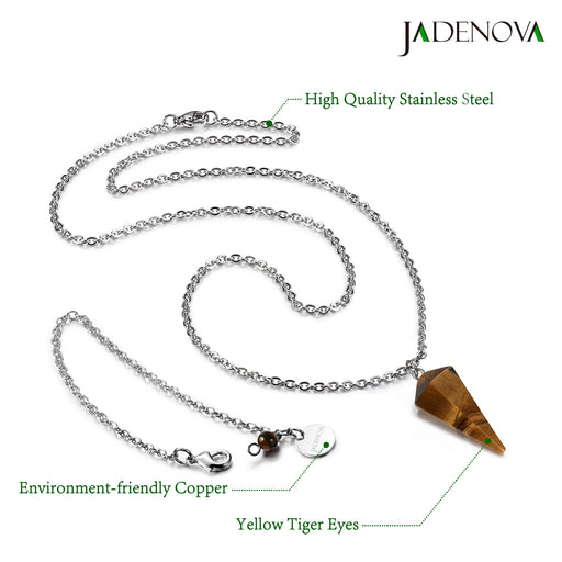 JADENOVA Gemstone Pendulum Natural Yellow Tiger Eye Pendulum Gemstone Pendant Conical Necklace Energy Healing Crystal Pendulum Necklace