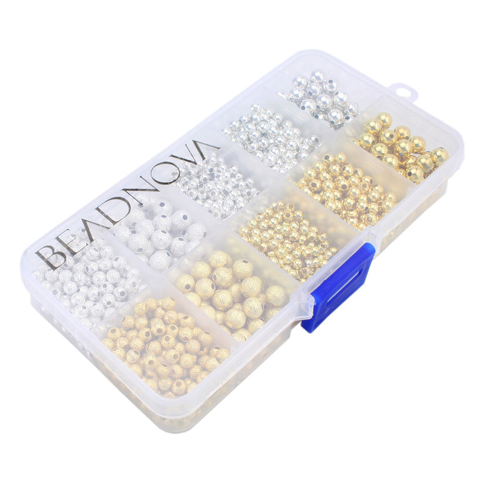 BEADNOVA 1600pcs Silver Plated / Gold Plated Sparkle Beads Smooth Round Loose Beads 3mm 4mm 6mm with Container Box Jewelry Making