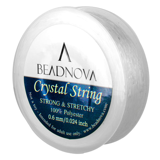 BEADNOVA 0.6mm Elastic Stretch Polyester Crystal String Cord for Jewelry Making Bracelet Beads Thread 80m/roll (Clear White)