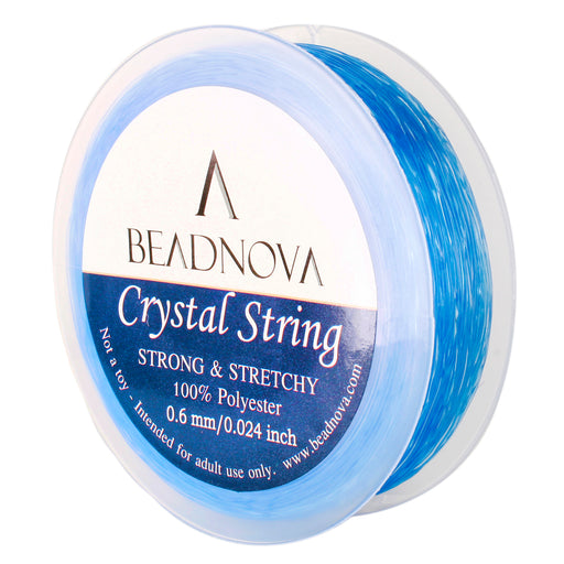 BEADNOVA 0.6mm Elastic Stretch Polyester Crystal String Cord for Jewelry Making Bracelet Beads Thread 80m/roll (Light Blue)