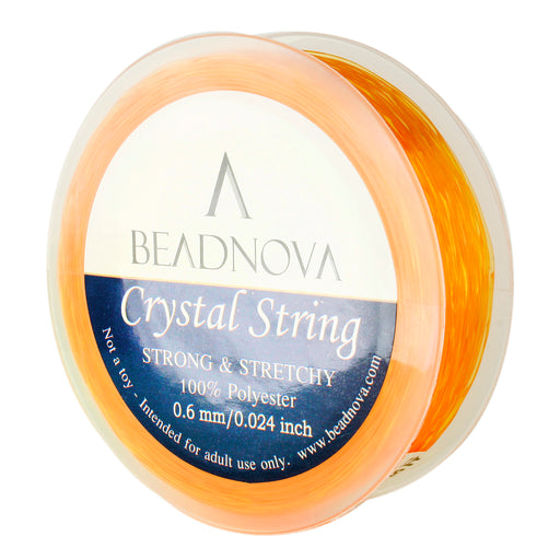 BEADNOVA 0.6mm Elastic Stretch Polyester Crystal String Cord for Jewelry Making Bracelet Beads Thread 80m/roll (Golden Yellow)
