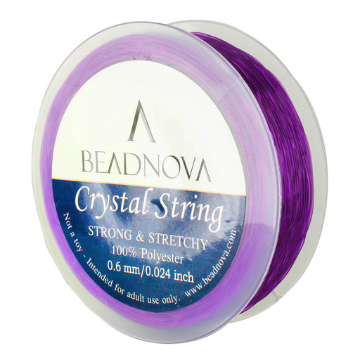 BEADNOVA 0.6mm Elastic Stretch Polyester Crystal String Cord for Jewelry Making Bracelet Beads Thread 80m/roll (Amethyst)