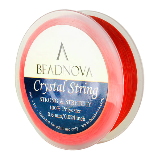 BEADNOVA 0.6mm Elastic Stretch Polyester Crystal String Cord for Jewelry Making Bracelet Beads Thread 80m/roll (Red)