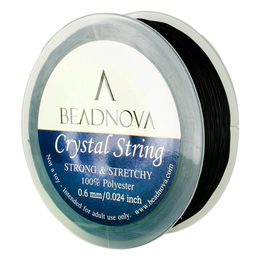 BEADNOVA 0.6mm Elastic Stretch Polyester Crystal String Cord for Jewelry Making Bracelet Beads Thread 80m/roll (Black)