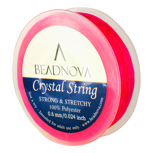 BEADNOVA 0.6mm Elastic Stretch Polyester Crystal String Cord for Jewelry Making Bracelet Beads Thread 80m/roll (Fuchsia)