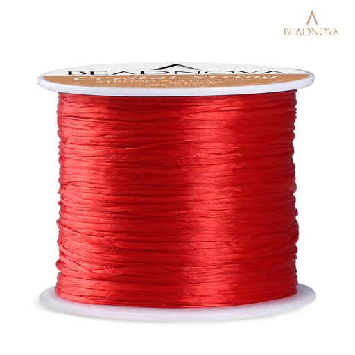 BEADNOVA 1mm Elastic Stretch Polyester Crystal String Cord for Jewelry Making Bracelet Beading Thread 60m/roll (Red)