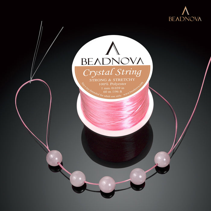 BEADNOVA 1mm Elastic Stretch Polyester Crystal String Cord for Jewelry Making Bracelet Beading Thread 60m/roll (Light Pink)