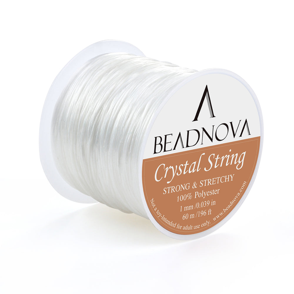 BEADNOVA 1mm Elastic Stretch Polyester Crystal String Cord for Jewelry Making Bracelet Beading Thread 60m/roll (Clear White)
