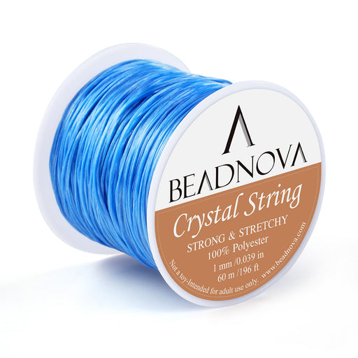 BEADNOVA 1mm Elastic Stretch Polyester Crystal String Cord for Jewelry Making Bracelet Beading Thread 60m/roll (Light Blue)