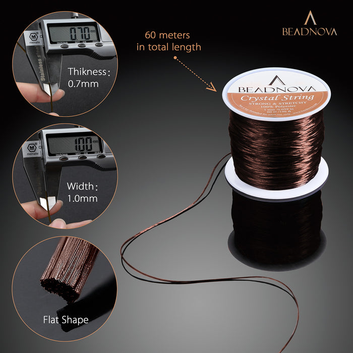 BEADNOVA 1mm Elastic Stretch Polyester Crystal String Cord for Jewelry Making Bracelet Beading Thread 60m/roll (Brown)