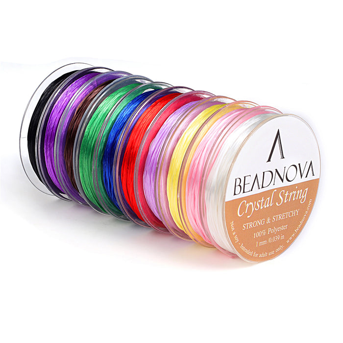 BEADNOVA 1mm Elastic Stretch Polyester Crystal String Cord for Jewelry Making Bracelet Beading Thread (12m/ Roll, Total 10 Rolls Mixed Color)