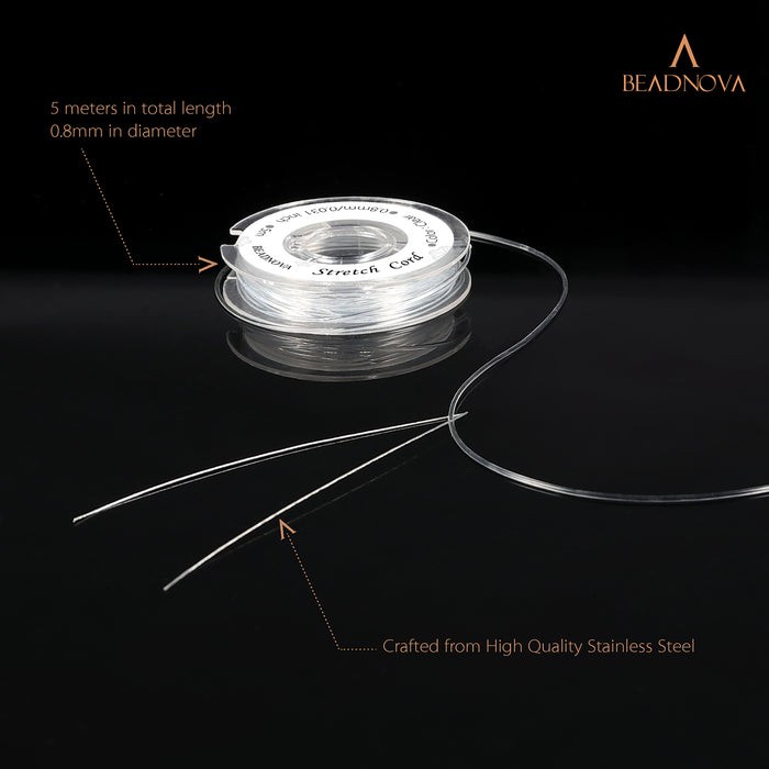 BEADNOVA DIY starter kit 0.8mm Stretch Jewelry Cord Elastic Crystal String Cord 5 Meters with 1pc Collapsible Eye Needle for Jewelry Making