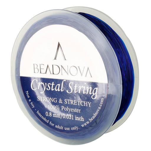 BEADNOVA 0.8mm Elastic Stretch Polyester Crystal String Cord for Jewelry Making Bracelet Beading Thread 50m/roll (Dark Blue)
