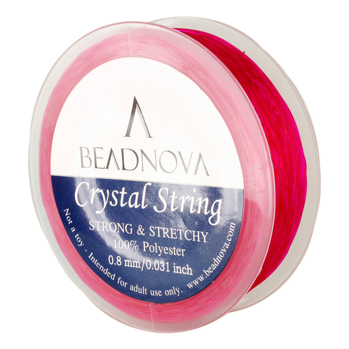 BEADNOVA 0.8mm Elastic Stretch Polyester Crystal String Cord for Jewelry Making Bracelet Beading Thread 50m/roll (Fuchsia)