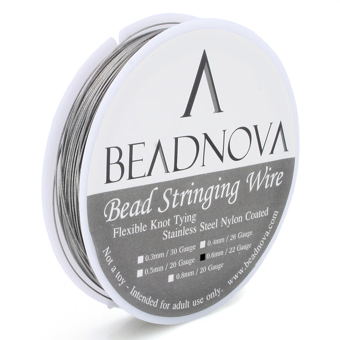 BEADNOVA 0.024-Inch 7-Strand Nylon Coated Stainless Steel Bead Stringing Wire for Jewelry Making (22-Feet) Wire(0.6mm 6.5 meter)