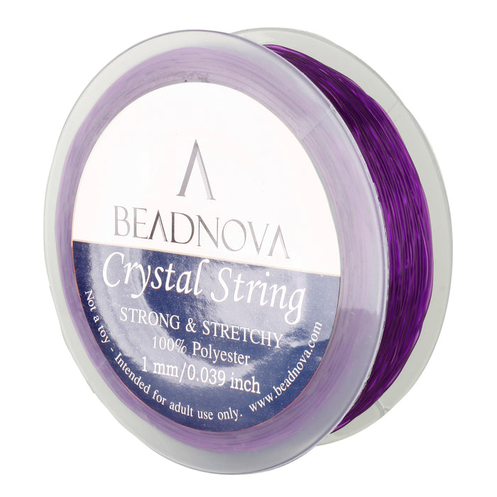 BEADNOVA 1mm Elastic Stretch Polyester Crystal String Cord for Jewelry Making Bracelet Beading Thread 35m/roll (Amethyst)