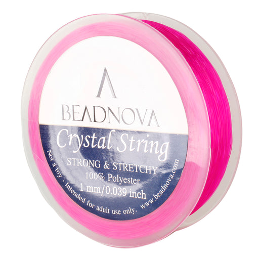 BEADNOVA 1mm Elastic Stretch Polyester Crystal String Cord for Jewelry Making Bracelet Beading Thread 35m/roll (Pink)