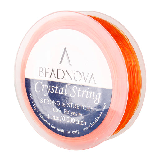 BEADNOVA 1mm Elastic Stretch Polyester Crystal String Cord for Jewelry Making Bracelet Beading Thread 35m/roll (Orange)